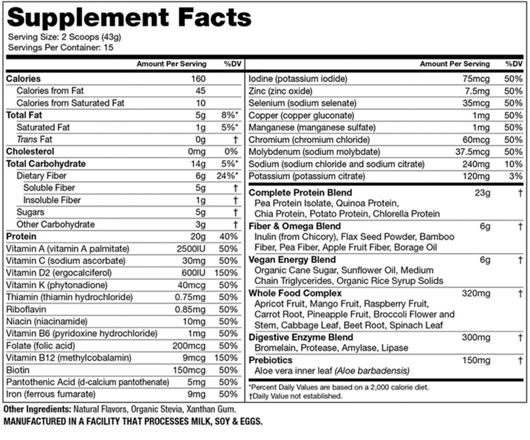 Vanilla Supplement Facts