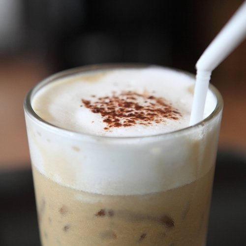 Enjoy this easy frappuccino drink with chocolate protein powder.
