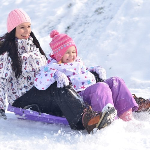 Get outside and sled for great cardio exercise this winter!